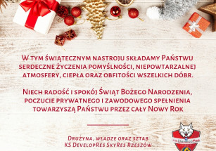Świąteczne życzenia od KS Developres SkyRes Rzeszów!